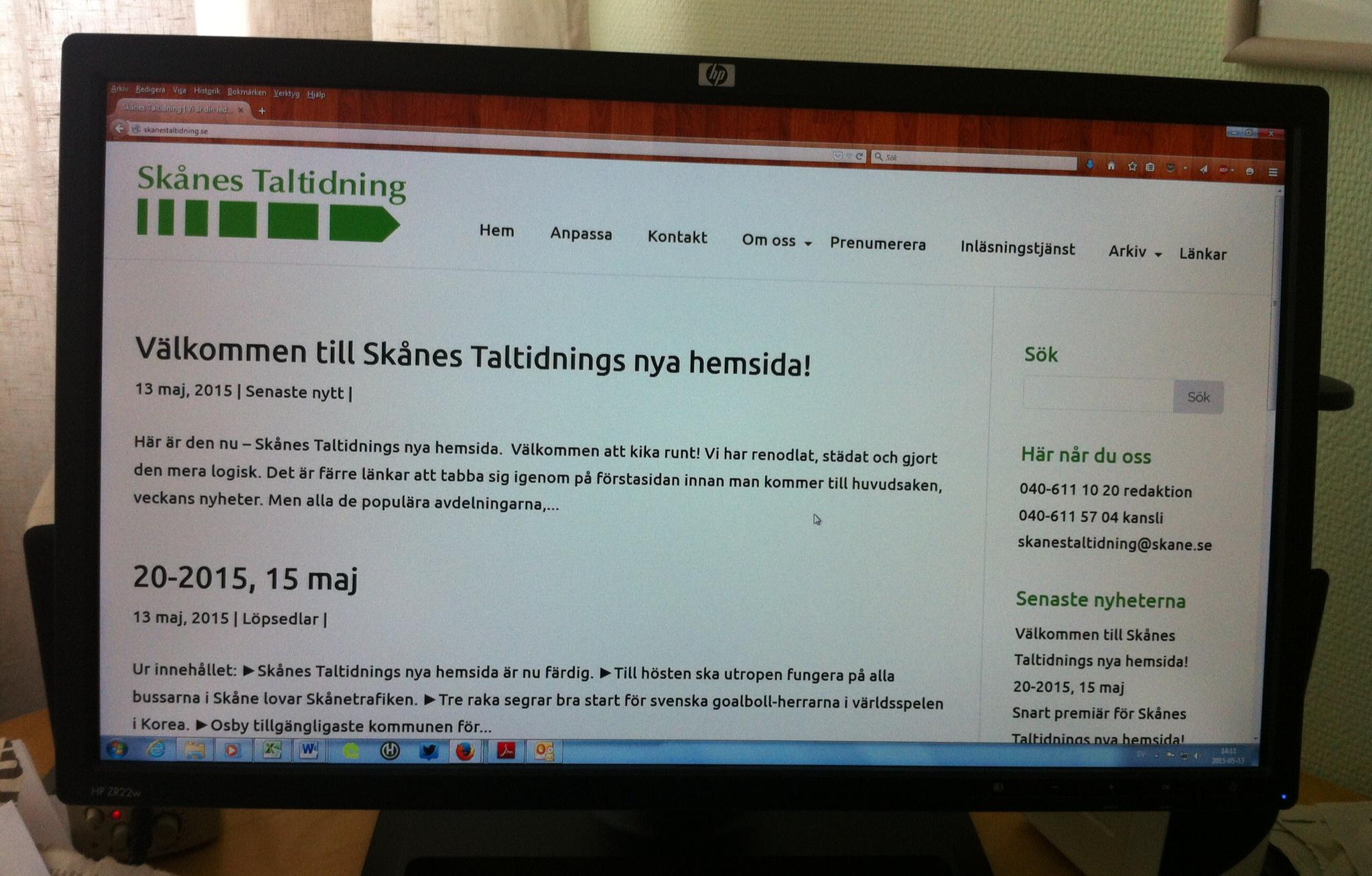 Skånes Taltidnings nya hemsida i vitt och grönt, med två blogginlägg.